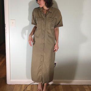 Vintage 80's Utility Shirt Dress, Tan, Large